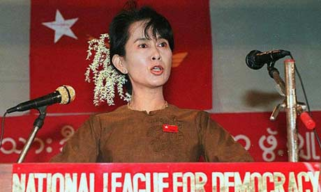 Suu Kyi delivering a speech at a political rally in Burma