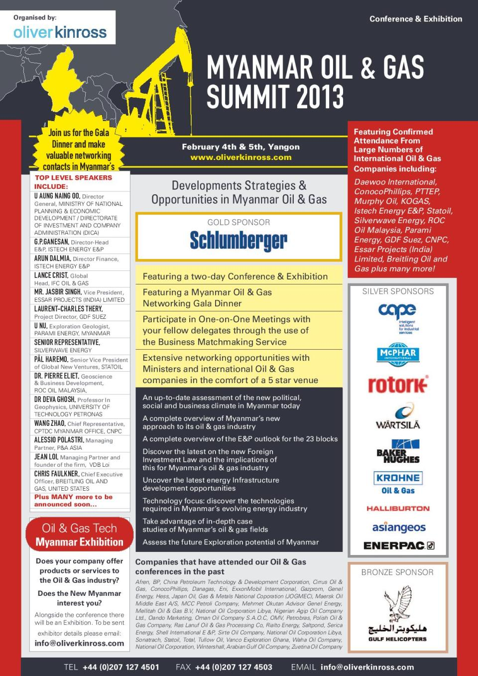 Myanmar Oil & Gas Summit 2013 (February 4th & 5th, Yangon).